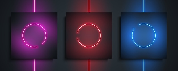 Установлены рамки неонового круга. ночь яркая неоновая лампа, светящийся круг света на черном фоне