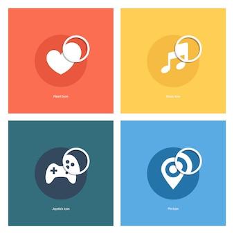 Сердце, музыкальная нота, джойстик, карта пин с набором значков увеличительного стекла. векторная иллюстрация