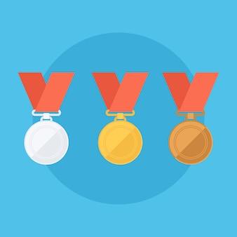 Золотые, серебряные, бронзовые медали. плоский дизайн векторные иллюстрации.
