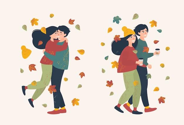 秋の日に散歩に愛情のあるカップルのセット