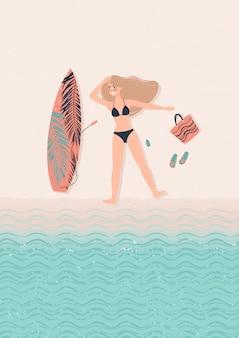 Молодая счастливая женщина блондинка иллюстрация