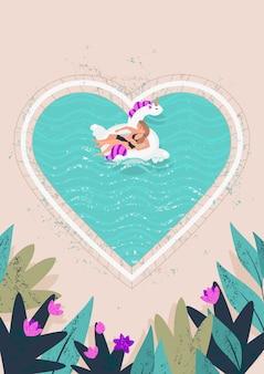 金髪の人々の愛情のあるカップルは、プールの図で時間を過ごす