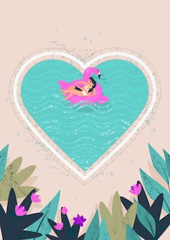幸せな女と男はハートのイラストの形をしたプールで時間を過ごす