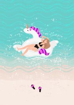 黒の水着で金髪の女性が泳ぐイラスト