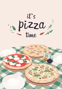 Вектор гавайская, грибная пицца и маргарита