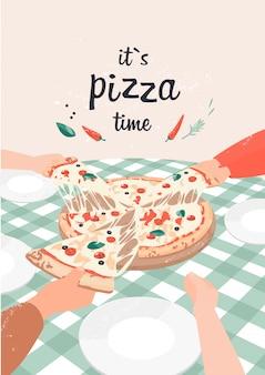Векторная иллюстрация пиццы с текстом это время пиццы