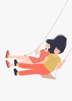 幸せな男と女のスイングベンチに恋