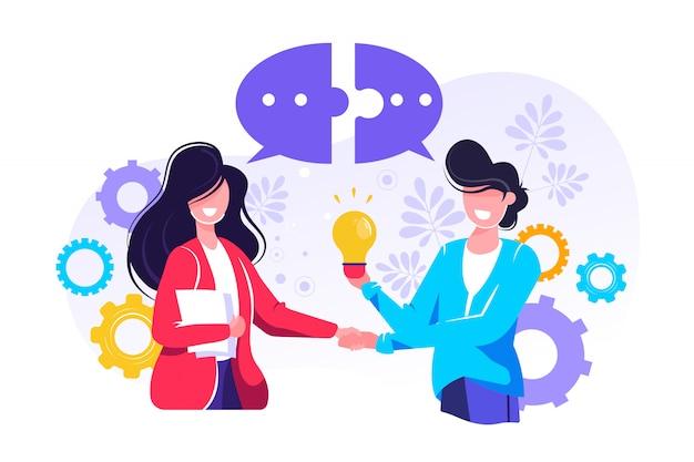 Бизнесмены обсуждают социальные сети