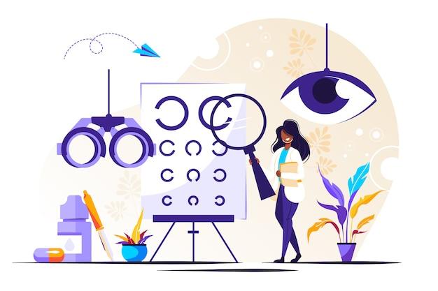 Иллюстрация офтальмологии. крошечные глаза здоровых людей