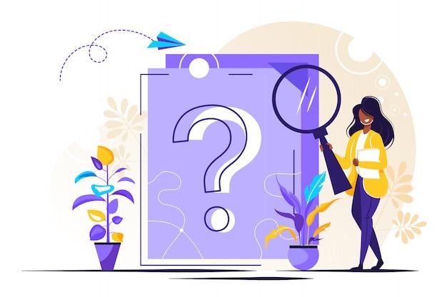 Вопросительный знак на документе. деловая женщина задает вопросы