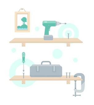 Иллюстрация ремонта деревянной полки