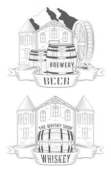 ビールハウスとウイスキーショップのセット