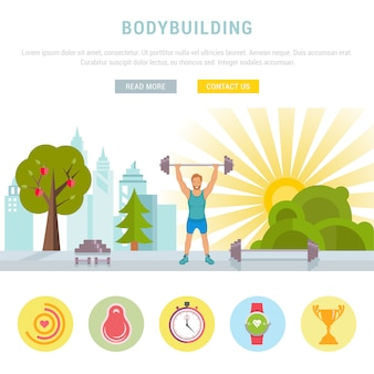 Веб-баннер фитнес или бодибилдинг