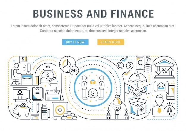 ウェブサイトバナーまたはビジネスと金融のリンク先ページ。