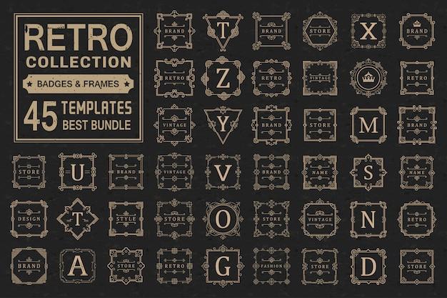 Установите роскошные логотипы и шаблон монограммы