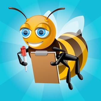 Медоносная пчела пишет на бумаге