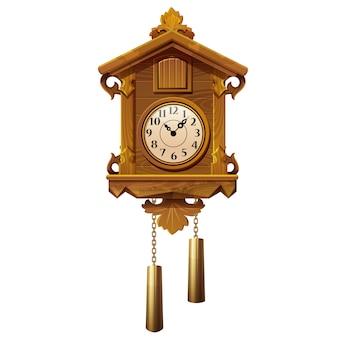 Старинные деревянные часы с кукушкой