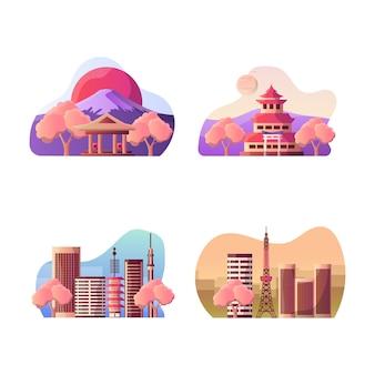 日本の観光地のベクトルイラスト