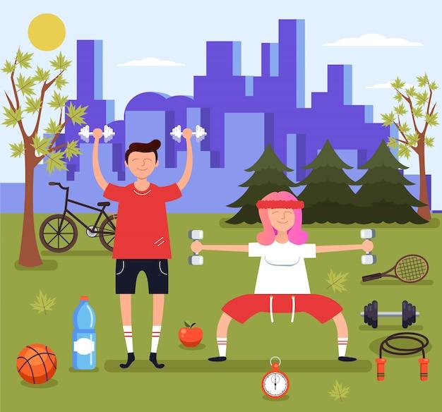 公園でスポーツをしている男性と女性のカップルのキャラクター