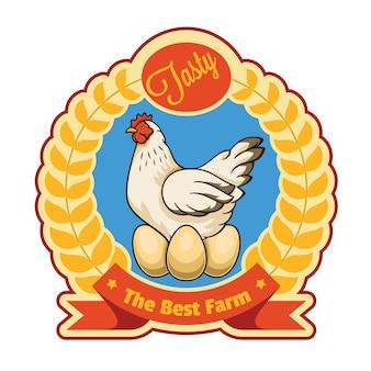 鶏と卵のバッジ