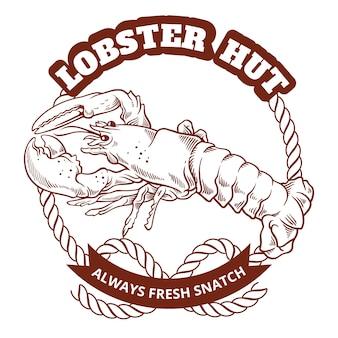 Ресторан морепродуктов ретро логотип