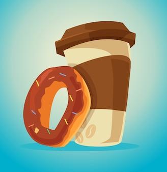 一杯のコーヒーとドーナツのキャラクター。フラット漫画