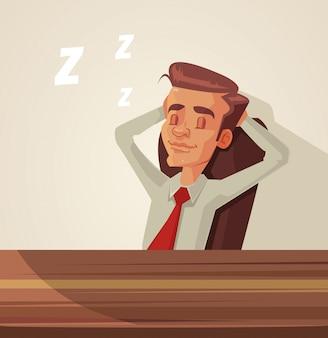 眠そうなサラリーマンのキャラクター。フラット漫画イラスト