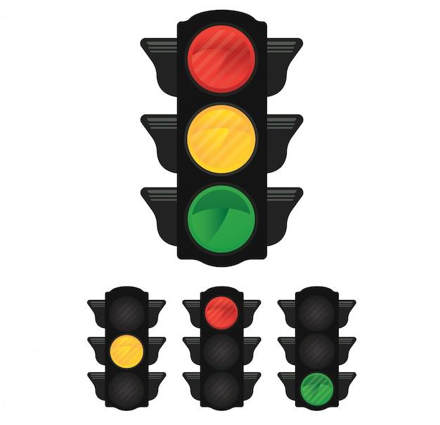 黄色、赤色、緑色のライトが付いている信号機