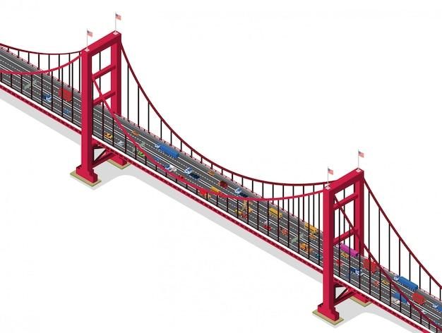 トラフィックのある橋等角図