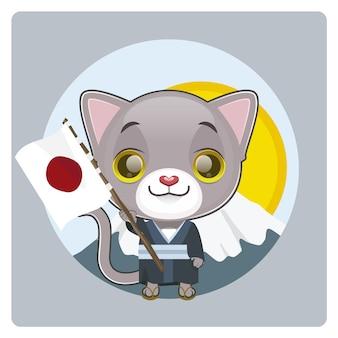 日本の旗の背景を持つ猫