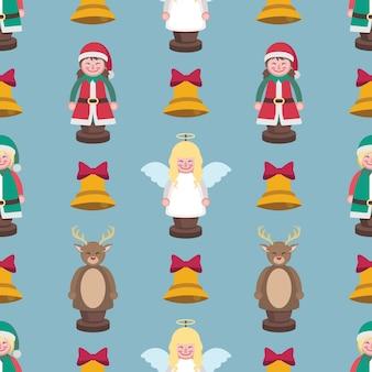 Бесшовный рождественский узор с фигурками и колокольчиками
