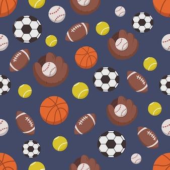 Бесшовный узор спортивных объектов