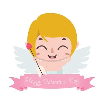 かわいいキューピッドとバレンタインデーの挨拶