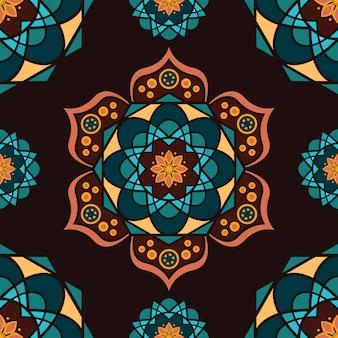 カラフルなマンダラとのシームレスなパターン