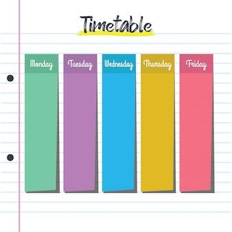 ポストイットノート付きの学校の時刻表