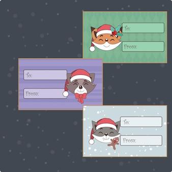 Набор милых новогодних ярлыков с животными