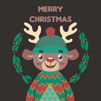 いクリスマスセーターでかわいいトナカイとクリスマスの挨拶