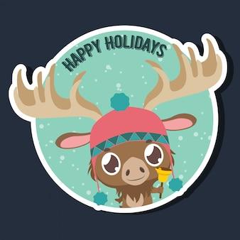 かわいい小さなムースと幸せな休日の挨拶