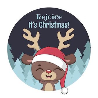 かわいい小さなトナカイとクリスマスの挨拶