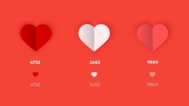 Плоские и бумажные иконки сердца.