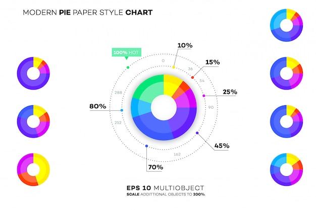 現代の紙スタイルの円グラフ。