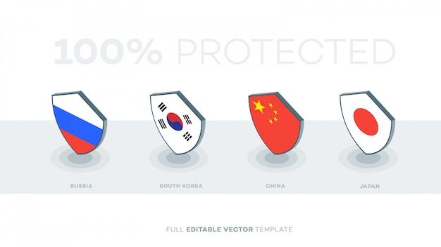 Абстрактные векторные страны флаг щит.