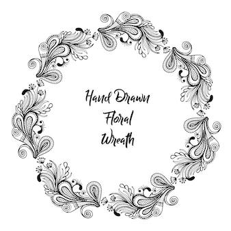 手描きの白黒花フレーム