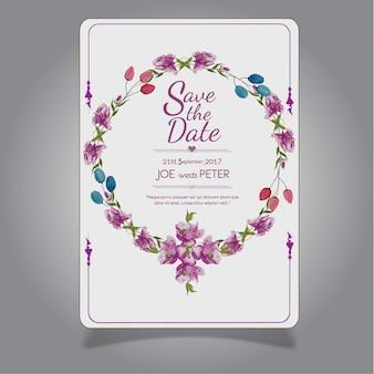 Рисованная акварель фиолетовая цветочная свадебная открытка-приглашение