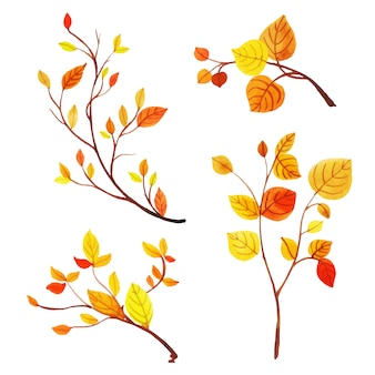 Коллекция красивых осенних листьев акварели