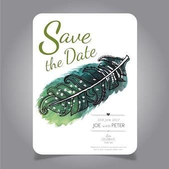 Свадебная открытка с акварелью