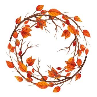 水彩秋の葉のフレーム