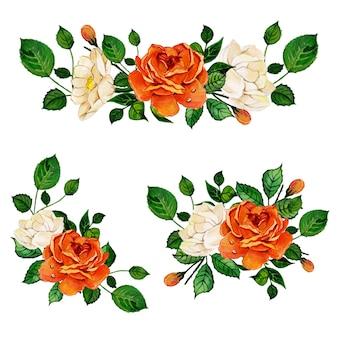 美しい水彩花束の束の配列コレクション