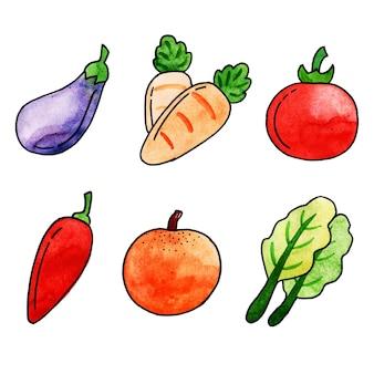 水彩の世界の食糧の日の要素コレクション