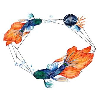 水彩魚&水中フレーム